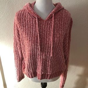 Chenille Chunky Knit Oversized Blush Hoodie: L